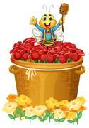 A happy bee above the basket of flowers Stock Illustration