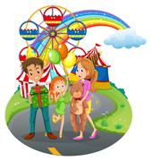 Stock Illustration of A family at the amusement park