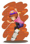 Stock Illustration of An energetic little girl skateboarding