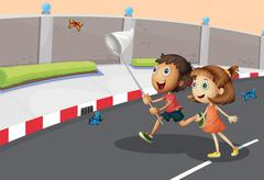 Kids catching butterflies at the street - stock illustration