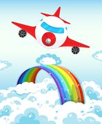 Airplane and rainbow Stock Illustration