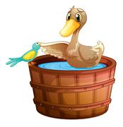 A duck and a bird at the bathtub with water - stock illustration