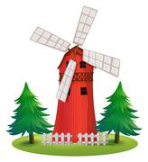A tall wooden building with a windmill Stock Illustration