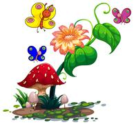 Colourful butterflies surrounding the plants - stock illustration