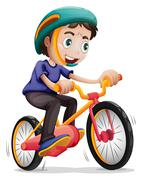 A young boy riding a bicycle Stock Illustration