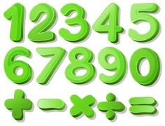 Green numbers - stock illustration
