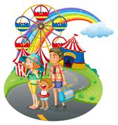 A family bonding at the carnival Stock Illustration