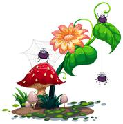 A plant with spiders Stock Illustration