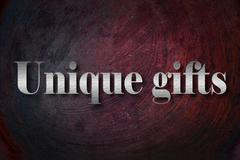 Unique gifts text on background Stock Illustration