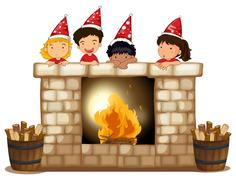 Playful kids at the fireplace Stock Illustration