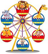 Stock Illustration of A carnival ride with animals