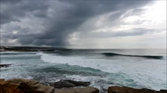 Rough seas due to approaching storm with dark clouds and lightning Stock Footage