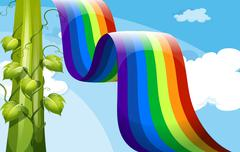 A rainbow and a tall vineplant Stock Illustration