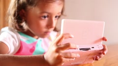 Little cute girl using technology Stock Footage