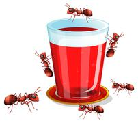 Juice and ants Stock Illustration