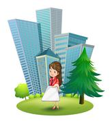 A woman outside the office - stock illustration