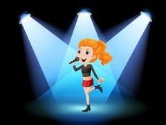 Singer on stage Stock Illustration