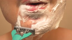 4K Manual Razor Shaving Stock Footage