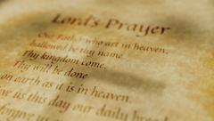 Religious Christian Text Lords Prayer Stock Footage