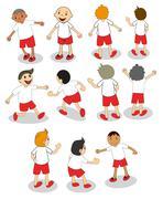 Set of boys playing - stock illustration