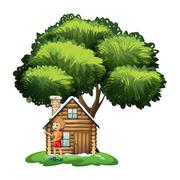 Stock Illustration of A young girl playing outside the small house under the tree