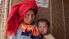 Burmese Woman with Baby at Indein Village, Inle Lake, Shan State, Myanmar Stock Footage