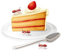 Cake and ants Stock Illustration