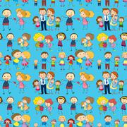 Seamless design of a family Stock Illustration