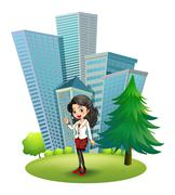 A woman outside the big buildings Stock Illustration