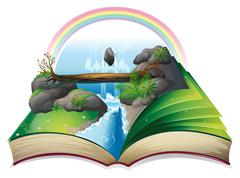 Stock Illustration of Waterfall book