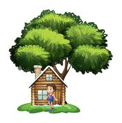 Stock Illustration of A boy playing outside the wooden house