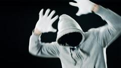 Crazy man thief fight at night, funny gangster Stock Footage