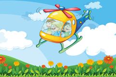 A helicopter flying with kids Stock Illustration