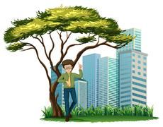 Stock Illustration of A man standing under the tree across the offices