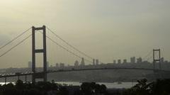 Stock Video Footage of Bosporus, Bosphorus, Bridge, silhouette, contour, sunset, at Istanbul, 1080P