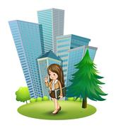 A woman near the pine tree across the tall buildings - stock illustration