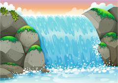 Stock Illustration of waterfall