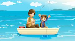 A father and a son fishing Stock Illustration