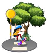 A street with a female skateboarder - stock illustration