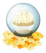 A crystal ball with a mocha-flavored cupcake inside Stock Illustration