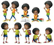 African-American kids - stock illustration