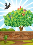 A tree with a flock of birds - stock illustration