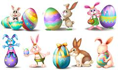 Stock Illustration of Easter eggs with playful bunnies