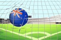 A ball hitting a goal with the New Zealand flag Stock Illustration