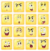 Stock Illustration of Different facial expressions