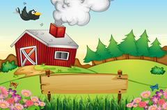 A farm with an empty signboard Stock Illustration
