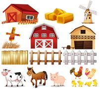 Things and animals found at the farm Stock Illustration