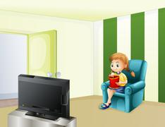 A girl watching TV while eating Stock Illustration