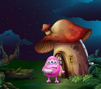 An injured pink monster near the mushroom house Stock Illustration