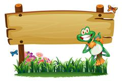 An empty wooden signboard with a playful frog Stock Illustration